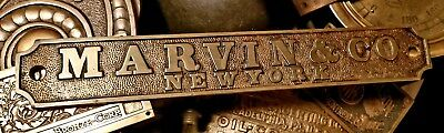 1880s Marvin Safe Co Strong Room Bank Vault NYC Brass Plaque Herring Hall