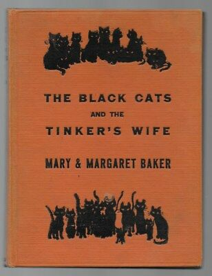 The Black Cats And The Tinker's Wife Children's Antique Book Silhouette Illus.