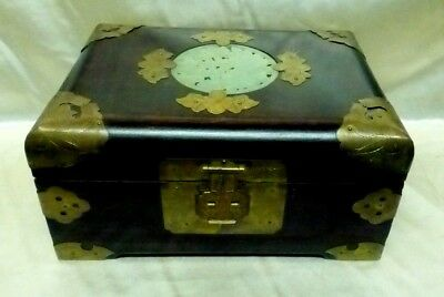 Large Antique Wooden Chinese Box w.  Gold Finish Metal Fittings & Green Interior