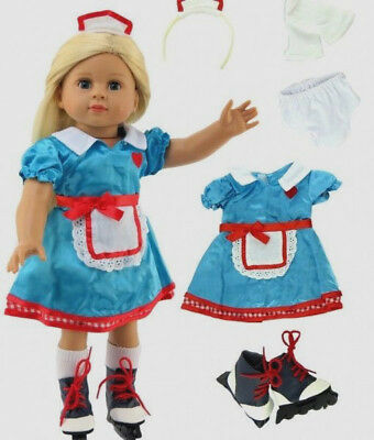 """Skating Carhop Cutie Set Fits 18"""" American Girl Doll Clothes 5pc"""