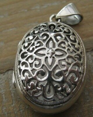Beautiful Victorian Style Pierced Solid Silver 925 Fob Locket Pendant - Family