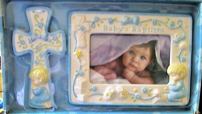 New in Box Dickson's Baby Boy Baptism Set - Frame (4 x 6) and Cross