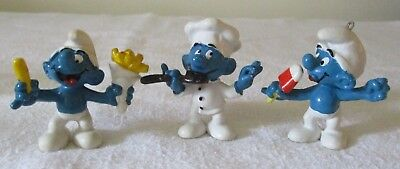3 Vintage PEYO Schleich SMURFS 1978 Chef, 1979 Popsicle/Ice Cream,& French Fries