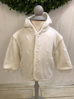 CARRIAGE BOUTIQUES Ivory Hooded Cardigan Sweater Coat ~ 6 Months ~ Acrylic ~