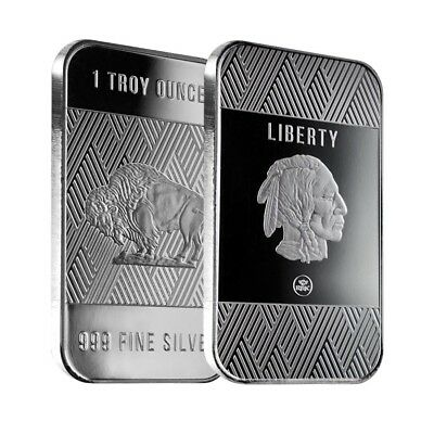 Lot of 2 - 1 oz Republic Metals (RMC) Silver Buffalo Bar .999 Fine