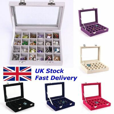 Velvet Glass Jewelry Ring Display Organizer Case Tray Holder Earring Storage Box