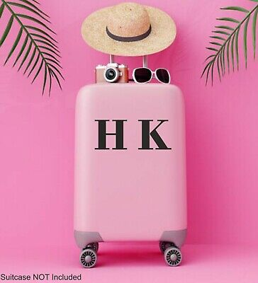 Suitcase STICKER Initials Name Personalised HB London Style Decal Luggage | NA61