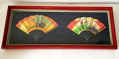 "Traditional Japanese Hand-crafted Fans Framed Ibasen Nihonbashi Tokyo 15"" X 6"""
