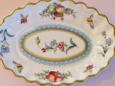 Vintage Spode Trapnell oval small dish, fluted edges gold highlights.