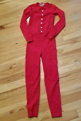 EUC Hanna Andersson red Long Johns Size 130 boys Girls Knee Patch organic cotton
