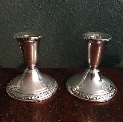 "Duchin Sterling Silver Pair of Candlesticks 3 3/4"" Tall Weighted Vintage Antique"