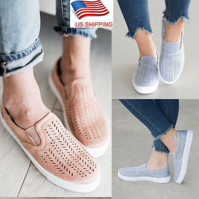Women Breathable Trainers Slip On Flat Plimsolls Sneakers Pumps Casual Shoes US