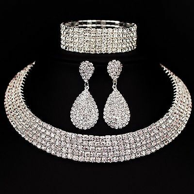 Crystal Diamond Choker Necklace Earrings and Bracelet Wedding Jewelry Sets Gifts