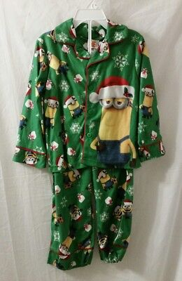 New DESPICABLE ME Boys Pajamas Size 4 Minions Holiday 2 Piece Flannel Sleep Set