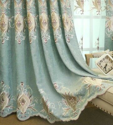 "Embroidery Sheer Curtains Luxury Blue Blackout Cloth Window Drapes 84/96"" Tulle"