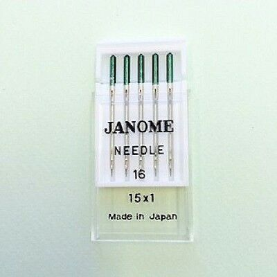"""Genuine Janome Needle 15x1  #16    """"Green Tip""""    Pack of 5 Needles"""