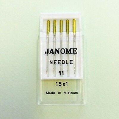 Genuine Janome Needle 15x1  #11 Gold Tip  Pack of 5 Needles