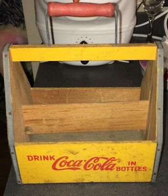 Vintage Coke Coca Cola Wooden 6 Bottle  Holder Soda Pop Advertising Wood Carrier