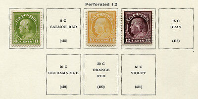 1912-1914 USA.  New Values.  Part set of 4 MLH.  CV £147.50.