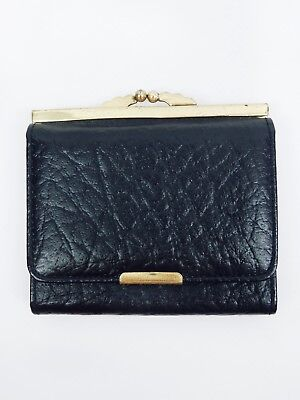 MINI LEATHER PURSE Vintage Black Gold Metal Coin Wallet Bag Womens Antique Small