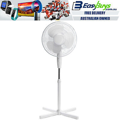 Pedestal Fan 40cm 3 Speed Oscillating Large Cooling Cooler Height & Tilt Adjust