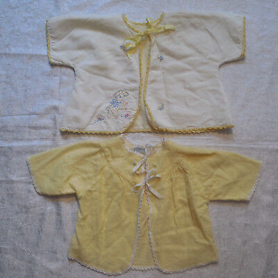 Vtg Sorbeau Layette Cardigan Sweaters 0 6 Months Lot of 2 Tops Yellow Tie Front