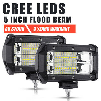 Pair 5inch CREE LED Work Light Bar Spot Lamp OffRoad Driving 4WD 4x4 Reverse