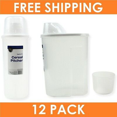 12 x 2.3L CEREAL CONTAINER & MEASURING CUP | Plastic Breakfast Dry Food Storage