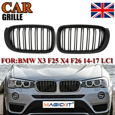 Pair Front Kidney Grille Grill Matte Black For Bmw X3 F25 Facelift X4 F26 14 17