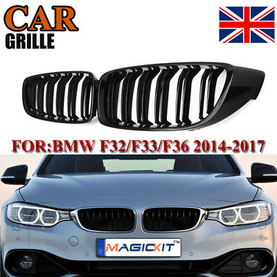 For BMW 4-Series F32 F33 F36 14 15 16 Front Grilles Grill Gloss Black Dual Line