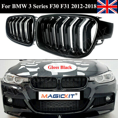 For BMW F30 F31 F35 3 Series 2012-2016 Kidney Grill Grille Gloss Black Dual Line