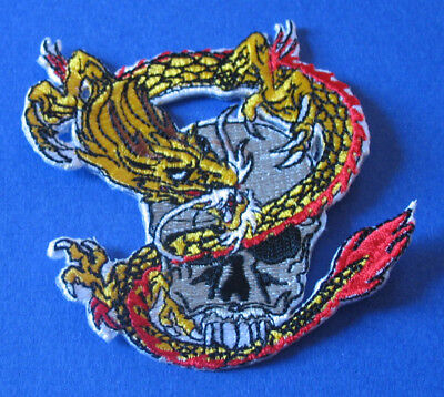 Brand New Skull With Dragon Snake Biker Iron On Patch