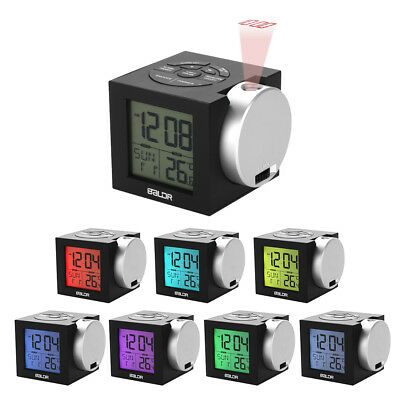 Baldr LCD Display Alarm Clock Projection Backlight Date Snooze Indoor Temperatur