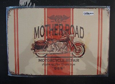 Tin Sign - Route 66, Mother Road, Motorcycle Repair (with Harley) - 20 x 30cm