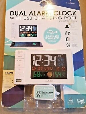 NIB La Crosse Technology C87061 Color Dual Alarm Clock with USB Charging Port
