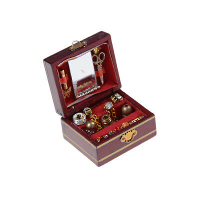 1SET 1:12 Scale Cute Dollhouse Miniature Filled Wooden Jewelry Box LE