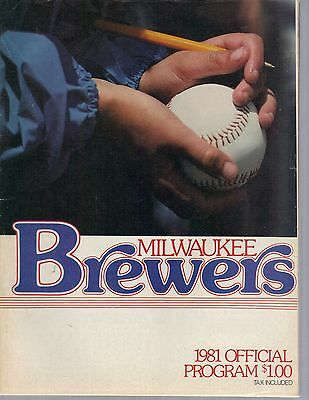 1981 Milwaukee Brewers Program vs Baltimore Kid with Ball and Pen Cover