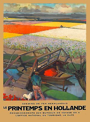 Holland Chemins de fer Neerlandis Netherlands Travel Advertisement Art Poster