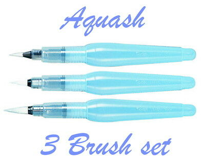 Pentel Aquash Water Brush Pen set : One each of Fine, Medium & Broad brush pens