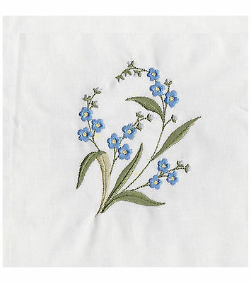 "Machine embroider quilt block Forget-me-not flowers Approx. 4"" x 3"" design"