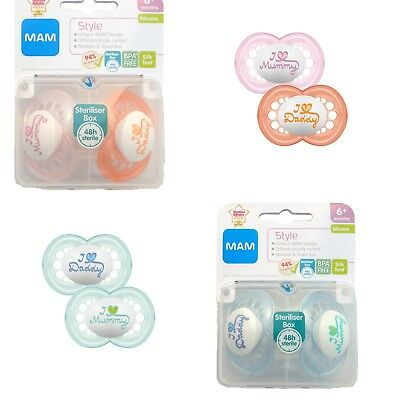 MAM - I Love Mummy & I Love Daddy Soother Twin Pack 6m+ CHOICE OF COLOUR (A116)