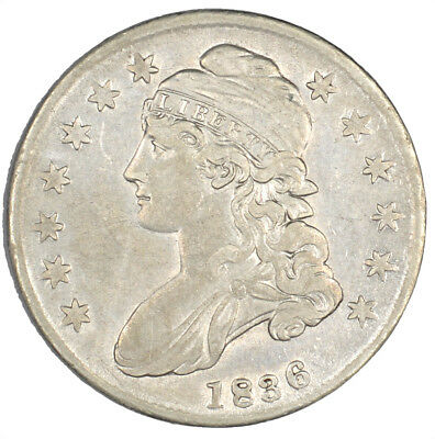 1836 Capped Bust Early Silver Half Dollar Lettered Edge 50C - VF Details -