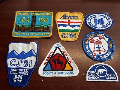 Boy Scouts of Canada lot of 7 Vintage Patch CJ '81 USED BSC FREE SHIP IN CANADA