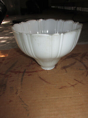 Antique Vintage Torchiere Light Shade Milk Glass Ribbed
