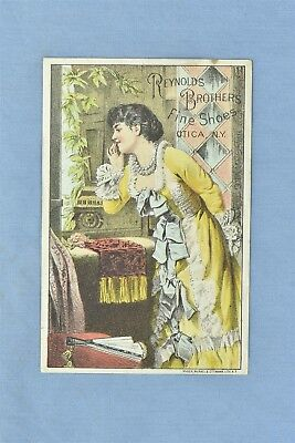 Advertising Victorian Trade Card Reynolds Brothers Fine Shoes Utica Ny #05288