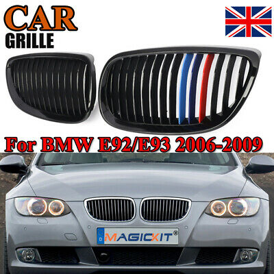 For 2007-2009 BMW E92 3-Series Coupe M Sport Front Grille Grills Black M-Color