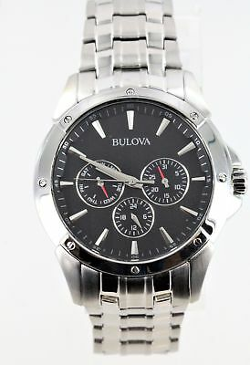 Bulova Men's Silver Tone Black Dial Chronograph Watch 96C107 Sratched Crystal