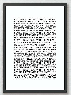 SUPERSONIC - OASIS Song Lyrics Typography A4 Print Poster