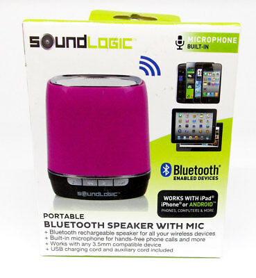 SOUNDLOGIC PORTABLE BLUETOOTH Speaker with Mic Hot Pink Purple IOS Android  Comp