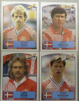 Panini's Football Euro 88 Stickers Figurine Panini Denmark 105,107,108,109
